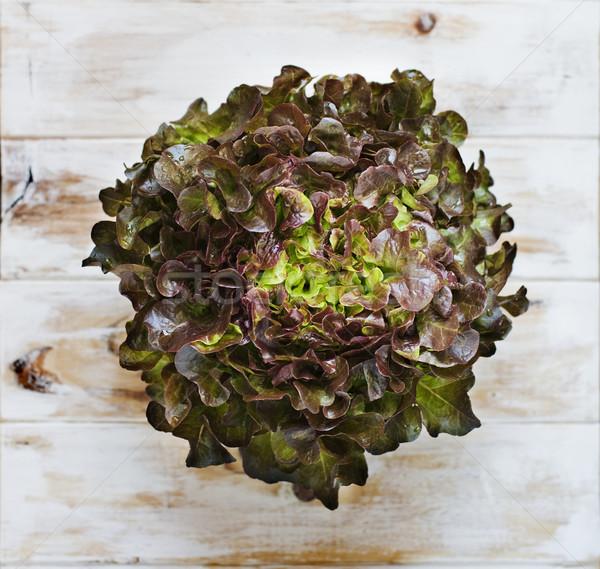 Tölgy levél saláta rusztikus fa asztal asztal Stock fotó © Photooiasson