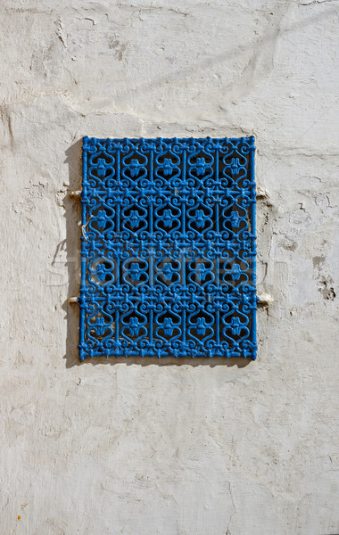 Traditional blue window from Kasbah of the Udayas in Rabat. Stock photo © Photooiasson