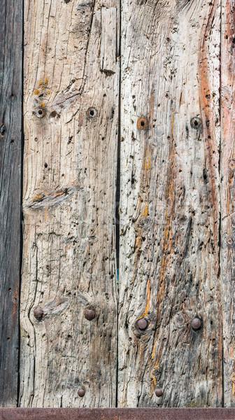 ストックフォト: 風化した · 木製 · ドア · メタリック · さびた · パネル