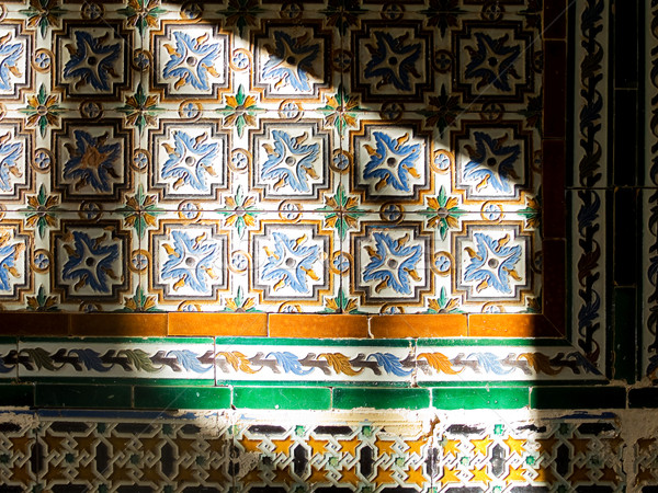 Antique worn tiles wall. Stock photo © Photooiasson
