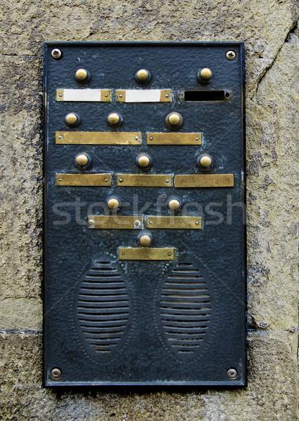 Sonnette plaque mur de pierre maison mur Photo stock © Photooiasson