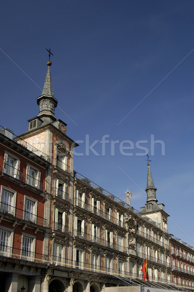 Stock fotó: Tér · Madrid · Spanyolország · LA · ház · építkezés