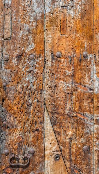 風化した 木製 ドア メタリック さびた テクスチャ ストックフォト © Photooiasson