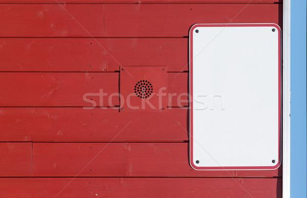 Blanche panneau rouge bois mur bois Photo stock © Photooiasson
