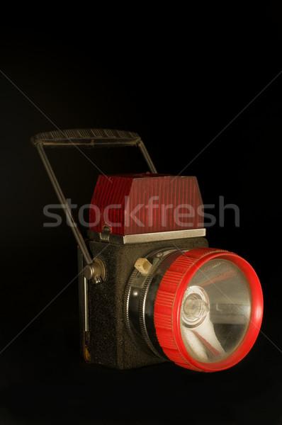 Klasszikus zseblámpa fekete fém piros sötét Stock fotó © Photooiasson