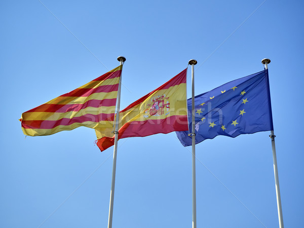Flags of Catalonia, Spain and European Union waving. Stock photo © Photooiasson