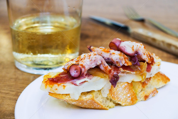 Typical spanish octopus pincho (Galician octopus style) Stock photo © Photooiasson