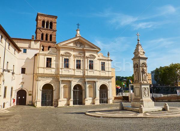 Basilica San Bartolomeo alle Isola, Tiberina island. Rome. Lazio, Italy. Stock photo © Photooiasson