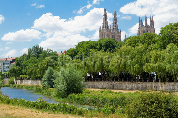 Arlanzon River with Gothic Cathedral in Background, Burgos. Spain Stock photo © Photooiasson