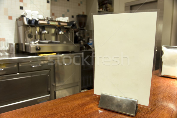 Blank menu of a bar with a Italian coffeemachine in a background Stock photo © Photooiasson