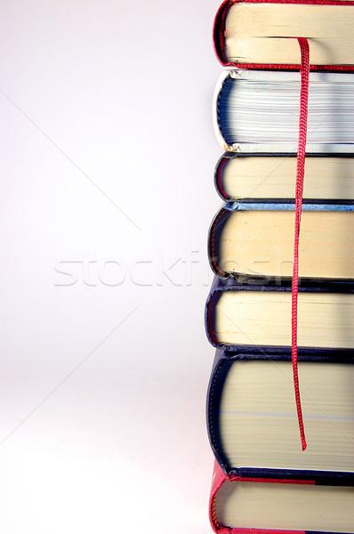 Boglya könyvek torony piros könyvjelző ezüst Stock fotó © Photooiasson