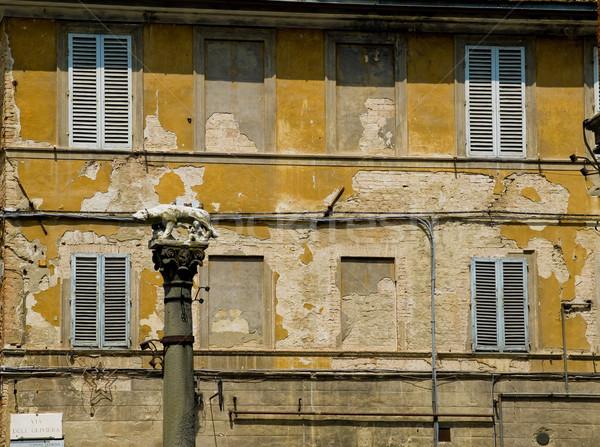 Straat stad achtergrond steen baksteen Windows Stockfoto © Photooiasson