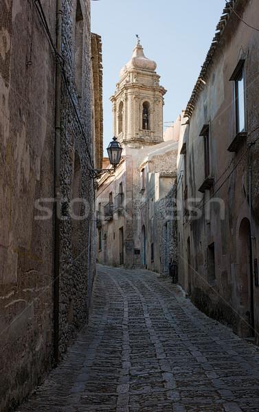 Szicília Olaszország kilátás tipikus utca épület Stock fotó © Photooiasson