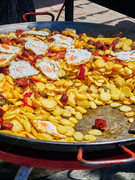 испанский яйца чоризо картофель сковорода Сток-фото © Photooiasson