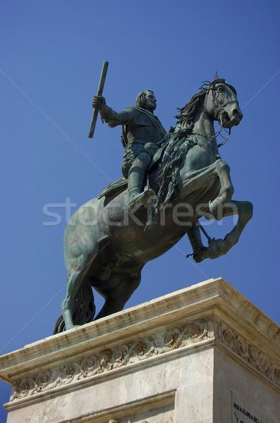 Statue of Felipe IV en la plaza de Oriente en Madrid. Spain Stock photo © Photooiasson