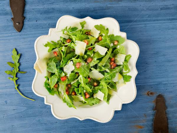 Saláta parmezán gránátalma rusztikus fa asztal nyár Stock fotó © Photooiasson