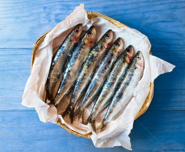 Friss mediterrán kék asztal egészség csoport Stock fotó © Photooiasson