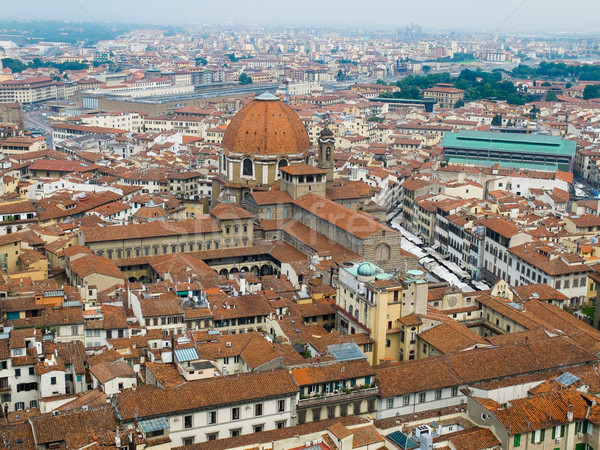 Florence panoramic view and The Basilica di San Lorenzo in the d Stock photo © Photooiasson