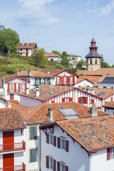 Rooftops of typical buildings of Ciboure in Aquitaine. France Stock photo © Photooiasson