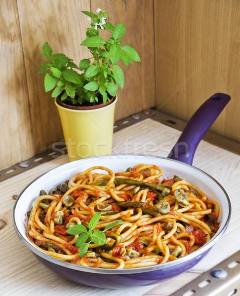 Bucatini Pomodoro with seasonal vegetables Stock photo © Photooiasson