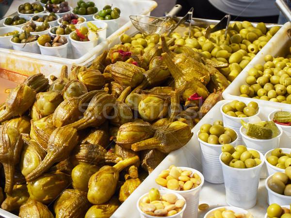 Padlizsán piac spanyol mediterrán étel zöldségek Stock fotó © Photooiasson