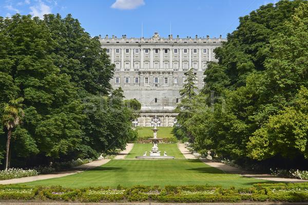 Zachód fasada królewski pałac Madryt Hiszpania Zdjęcia stock © Photooiasson