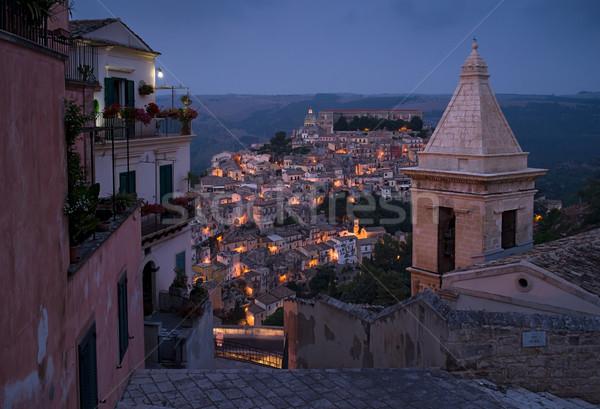 Cityscape sicília Itália noite cidade verão Foto stock © Photooiasson