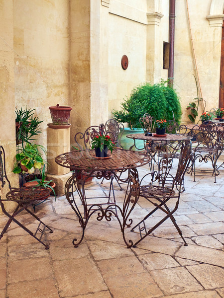 Terrace in a courtyard of a baroque palace of southern Italy. Stock photo © Photooiasson