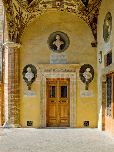 Renaissance door in the gallery of Palazzo Piccolomini e delle Papess. Siena, Italy Stock photo © Photooiasson