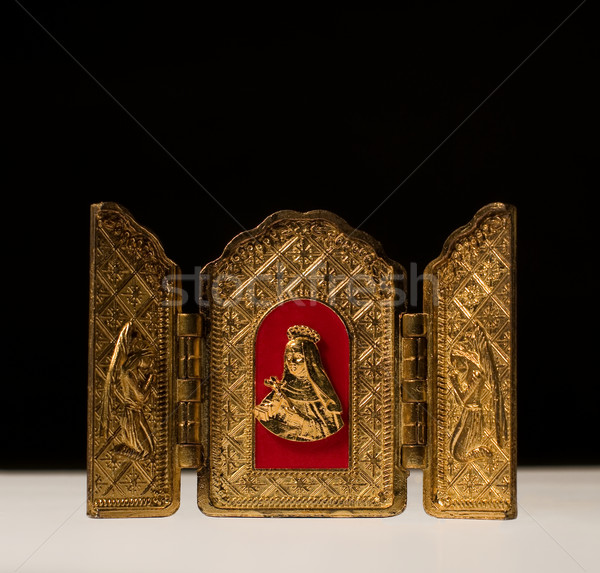 Golden Triptych with Virgin flanked by archangels Stock photo © Photooiasson