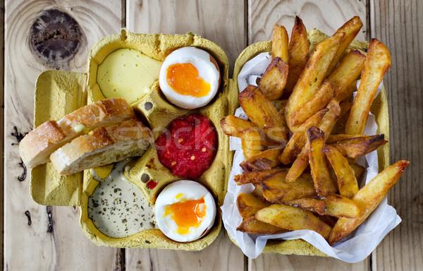 ストックフォト: 2 · ソフト · 卵 · フライドポテト · フライドポテト