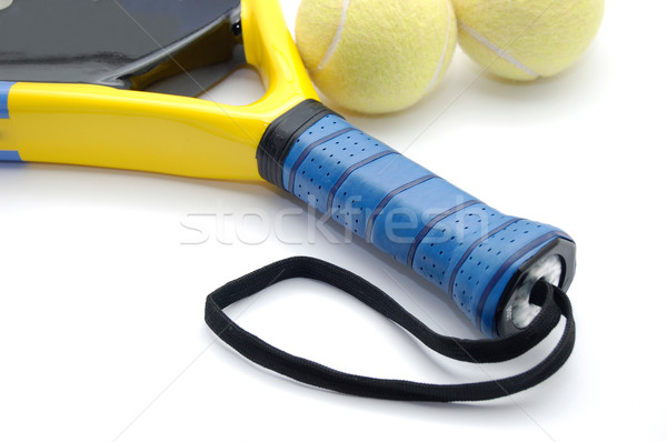 Racket fitness gezondheid tennis springen leuk Stockfoto © Photooiasson