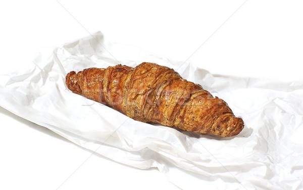 Croissant élelmiszer papírzacskó fehér európai stílus Stock fotó © Photooiasson