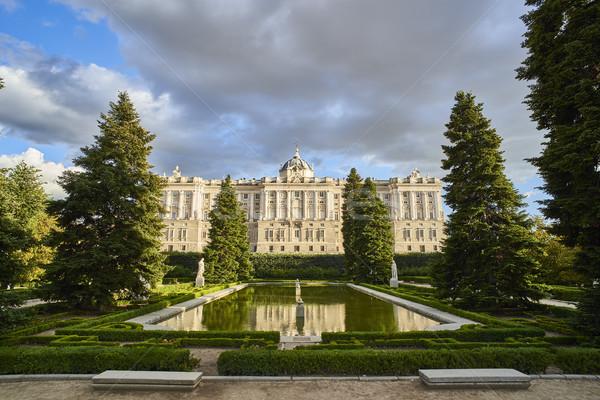Na północ fasada królewski pałac Madryt Hiszpania Zdjęcia stock © Photooiasson