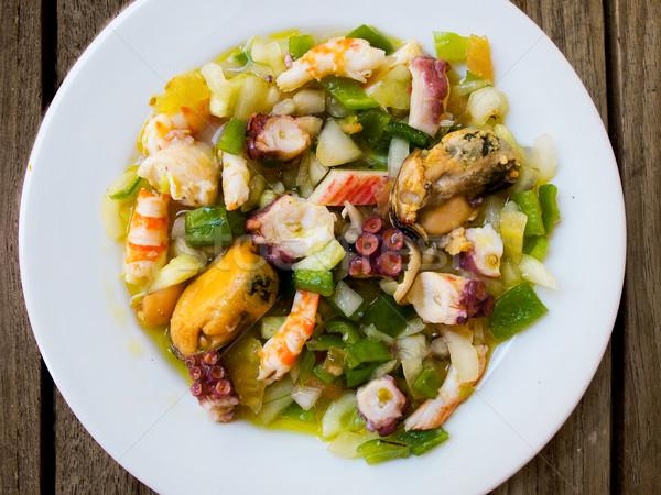 Mariscos ensalada típico espanol peces cocina Foto stock © Photooiasson