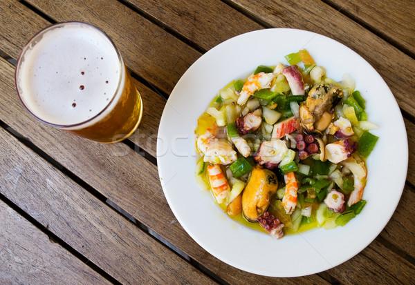 Schelpdier salade typisch spaans vis bier Stockfoto © Photooiasson