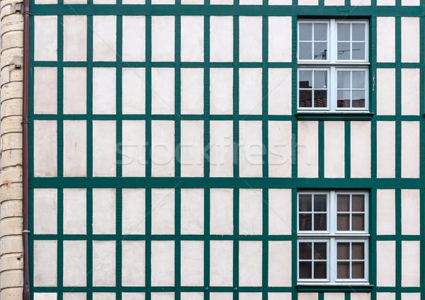 Ablakok fehér fal öreg fából készült európai Stock fotó © Photooiasson