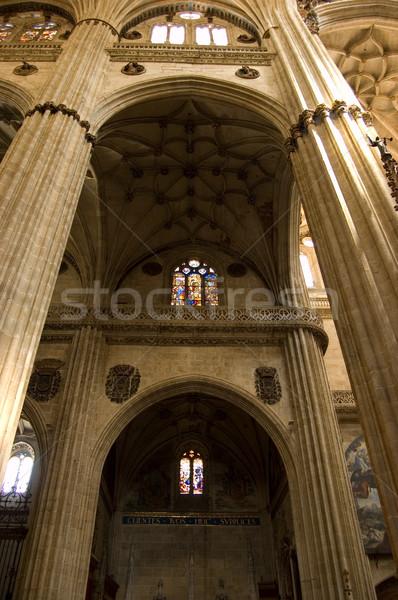 Gangpad binnenkant nieuwe kathedraal Spanje kolommen Stockfoto © Photooiasson