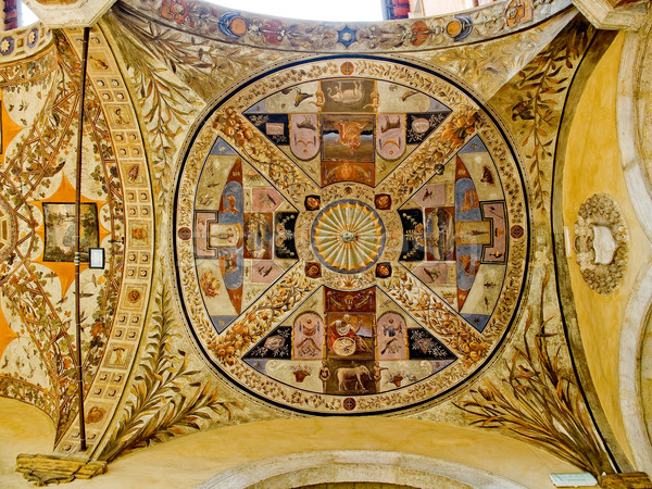 Ceiling in the yard of Palazzo Piccolomini e delle Papesse. Siena, Italy Stock photo © Photooiasson