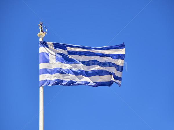 Zászló Görögország integet kék ég hivatalos égbolt Stock fotó © Photooiasson