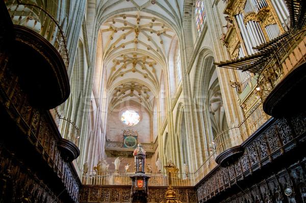 Koro organ İspanya ahşap kilise Stok fotoğraf © Photooiasson