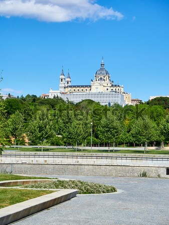 Green spaces of Madrid Rio with the Almudena Cathedral in background. Stock photo © Photooiasson