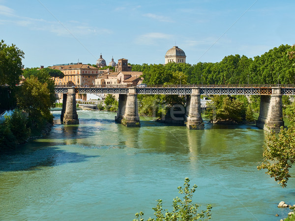 Ponte palatino bridge on the Tiber river of Rome. Italy. Stock photo © Photooiasson