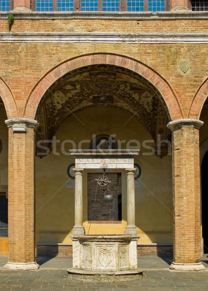 Yard of Palazzo Piccolomini e delle Papesse. Siena, Italy Stock photo © Photooiasson