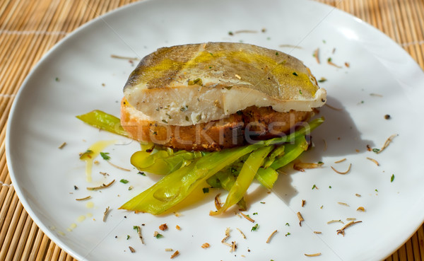 Typical spanish codfish pincho. Stock photo © Photooiasson