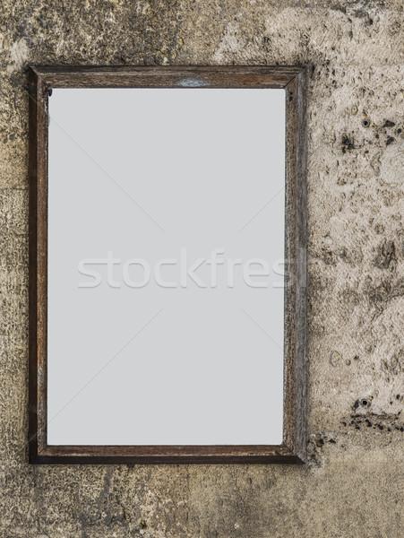 Blanche panneau mur mur de pierre rue construction Photo stock © Photooiasson