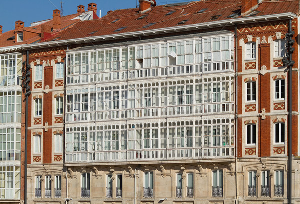 Classical Architecture of Burgos. Detail Balconies on the Cathedral Square. Spain Stock photo © Photooiasson