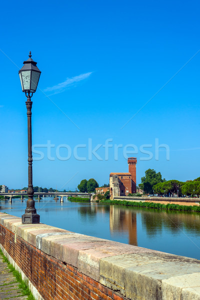 Arno River and Cittadella e Guelfa, tower. Pisa, Tuscany. Italy. Stock photo © Photooiasson