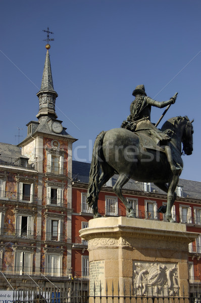 Major Square, Madrid. Spain. Casa de la Panaderia and Felipe III statue Stock photo © Photooiasson