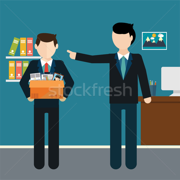 Layoff concept. Boss dismissed employee. Flat vector illustration. Stock photo © Photoroyalty
